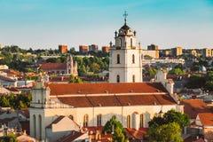 Sunset Sunrise Cityscape Of Vilnius, Lithuania In Stock Images