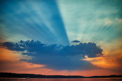 Sunset. Sunrise clouds lake sea Royalty Free Stock Photography