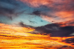 Sunset / sunrise with clouds and light effect Royalty Free Stock Image