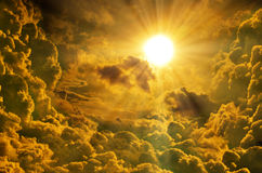 Sunset / sunrise with clouds, light rays Royalty Free Stock Photo