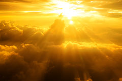 Sunset, sunrise on clouds, light rays effect Royalty Free Stock Images