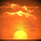 Sunset, Sunrise With Clouds stock illustration