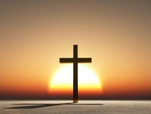 Sunset or sunrise cross Stock Photography