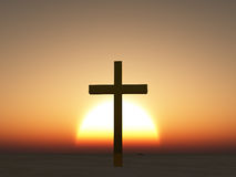Sunset or sunrise cross Stock Photos