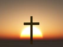Sunset or sunrise cross. Sunset or sunrise with cross Stock Photos