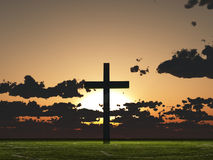 Sunset or sunrise cross Royalty Free Stock Photos