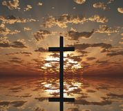 Sunset or sunrise with cross. Sunset or sunrise. Cross reflects in the water. 3D rendering Royalty Free Stock Image