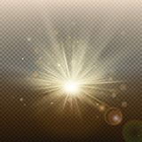 Sunset or sunrise golden glowing bright flash effect. Warm burst with rays and spotlight. Sun realistic lights template royalty free illustration