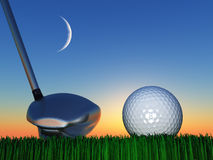 Sunset or Sunrise Golf Stock Photo