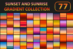Sunset and sunrise gradient set. Big collection abstract backgrounds with sky. Vector illustration. Sunset and sunrise gradient set. Big collection abstract Royalty Free Stock Photography
