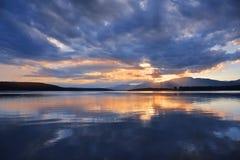Sunset,Sunrise Landscape,Panorama.Beautiful Nature.Blue Sky,Amazing Colorful Clouds.Water Background.Artistic Wallpaper.Lake,sun. Incredibly beautiful sunset stock photography