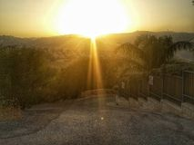 Sunset. Sunrise mountains mountain trees city jerusalem israel view light sky cloudless summer landscape background road street roa Royalty Free Stock Photography
