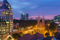 sunset or sunrise at Night view Notre Dame Cathedral ( Saigon Notre-Dame Basilica ), downtown of Ho Chi Minh City, Vietnam Stock Photography