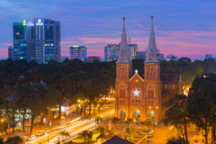 Sunset or sunrise at Night view Notre Dame Cathedral ( Saigon Notre-Dame Basilica ), downtown of Ho Chi Minh City Royalty Free Stock Image