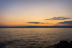 Sunset or sunrise at ocean beach landscape stock image
