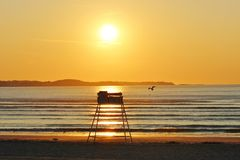 Sunset Sunrise by the Ocean. Colorful Sunset Sunrise picture taken by the ocean Stock Images