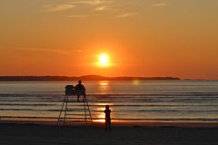 Sunset Sunrise by the Ocean Stock Photography