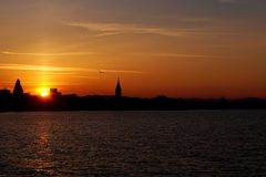 Sunset over Friedrichshafen with Bodensee stock images