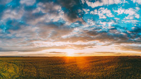 Sunset Sunrise Over Field Or Meadow. Bright Dramatic Sky Over Ground. Panorama Of Sunset Sunrise Over Field Or Meadow. Bright Dramatic Sky Over Ground Stock Photography