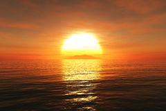 Sunset /sunrise  and sea 3D render Royalty Free Stock Images