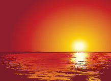 Sunset or sunrise on sea, illustrations Stock Photos