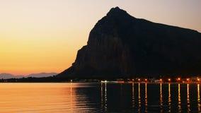 Sunset or sunrise sea at San Vito Lo Capo Sicily Italy. Sunset or sunrise at sea at San Vito Lo Capo Sicily Italy stock video footage