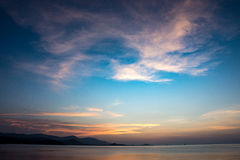 Sunset and sunrise on the sea surface. Evening scenery Sunset and sunrise on the sea surface. Beautiful view Royalty Free Stock Photography