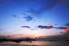 Sunset or sunrise with sky and clouds over mountain and andaman Stock Image