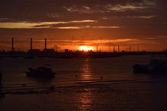 Sunset. Sunsent at singapore west cost Royalty Free Stock Photo