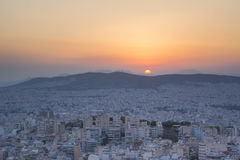 Sunset. Time in Athens,Greece stock photos