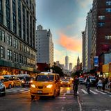 Sunset. Porn 6th avenue taxicab yellowcab Stock Photography