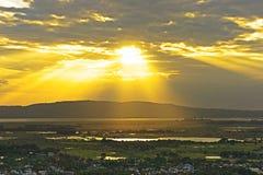 Sunset. Sunshine at Myanmar Stock Image