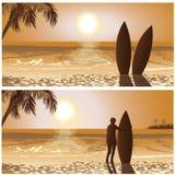 Sunset surf Royalty Free Stock Photos