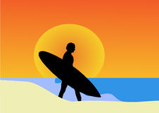 Sunset surf. In the beach Royalty Free Stock Photos