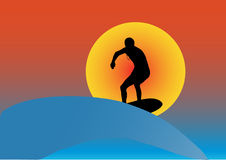 Sunset surf. Illustration of a surfer at sunset Stock Image