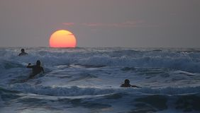 Sunset surf in Jersey Stock Image