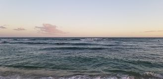 Sunset Surf Session in Ohau Hawaii royalty free stock image