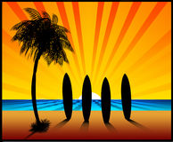 The Sunset Surfboards Illustration Royalty Free Stock Photos
