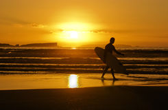 Sunset Surfer. Silhouette of Surfer carrying surfboard walks on the beach at sunset Royalty Free Stock Images
