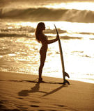 Sunset surfer girl 1. Beautiful woman with surfboard standing at sunset on a beach holding surfboard with waves breaking in the background Stock Photography
