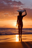 Sunset surfer girl Stock Images