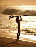 Sunset surfer girl 5. Beautiful woman with surfboard standing at sunset on a beach holding surfboard with waves breaking in the background 5 Royalty Free Stock Photo
