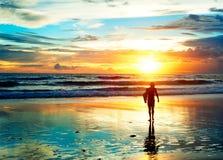 Sunset surfer Stock Photography