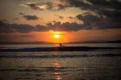 Sunset and surfing Stock Photography