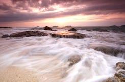 Sunset in Sutera harbour beach. Stock Photo