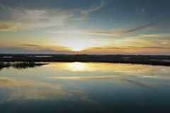 Sunset swamp royalty free stock photos