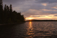 Sunset in Sweden. The golden houre in a beautiful landscape in Sweden Stock Photography