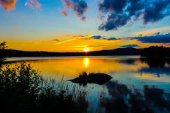 Sunset on a Swedish lake Royalty Free Stock Photo