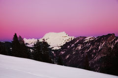 Sunset in Swiss Alps Stock Photography