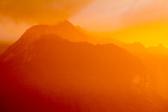 Sunset in Swiss Alps. Golden hour near Lake Geneva, in Swiss Alps Royalty Free Stock Photos